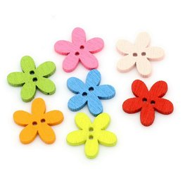 Wholesale Colorful Sewing Buttons - New 100pcs Colorful Flower Flatback DIY Wooden Buttons 14*15mm Sewing Craft Scrapbooking New 1OHI Christmas Gift Buttons Baby Clothes