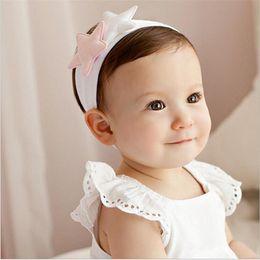 Wholesale Star Headdress - Baby Headbands Korea bandeau Kids Soft Cotton Star Hair Accessories Girls Cute Hairbands Princess Headdress Pink White Colors KHA259
