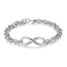 "Wholesale Simple Cross Bracelet - 18K White Gold Plated Simple Infinity ""8"" Shape Cross Rolo Link Chain Bracelets & Bangles Party Costume Jewelry Bijoux for Women"