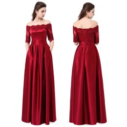 Wholesale Lace Champagne Long Sleeved Dresses - 2017 SSYFashion Wine Red Lace Embroidery Luxury Satin Half Sleeved Long Evening Dress Bride Elegant Banquet Prom Dress Robe De Soiree