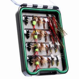 Wholesale Soft Lure Pike - MAXWAY Fly Fishing Lure Dry Flies Assortment for Pike Trout Bass 24 Pcs of Flies for Bee Bird Nymphs Streamer Fly Lures with box