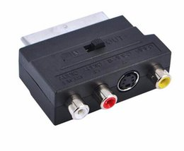 Wholesale Rca Av Vga Converter - NEW RGB Scart to Composite 3 RCA S-Video AV TV Audio Adapter Converter Scart to RCA