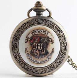 Wholesale Necklace Watches Children - Hot 2 styles Harry Potter Hogwarts wholesale students kids children retro pocket watch unisex mens womens necklace quartz watch