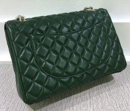 Wholesale Black Satin Rabbit - 58601 green Lambskin Classial 33CM Caviar Maxi Jumbo Quilted Chain White Caviar Leather Double Flaps Shoulder Bag 28 Colors