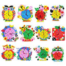 Apprendimento orologi online-All'ingrosso-Cartoon Animal Learning Clock Puzzle Bambini Artigianato artistico Kit giocattolo educativo fai-da-te