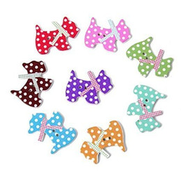Wholesale Wooden Embellishments - Kimter Radom Mixed Colorful Dog Wooden Sewing Buttons With 2 Holes 15mm For Making Craft Card Embellishment Hat Clothes Pack Of 50pcs I648L