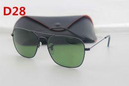Wholesale Europe Woman Fashion - 1pcs Europe and the United States fashion retro sunglasses men and women 58mm glass lenses glasses silver metal frames to send black glas