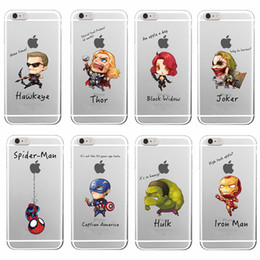 Wholesale Hulk Iphone Cases - Cartoon Character Cool Hulk captian Design Transparent Clear Skin Cover Case for Apple iPhone 5 5s SE 6 6s Plus 7 Plus