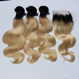 Deutschland Brasilianisches ombre Blondes Haar bündelt Verlängerungen mit Verschlusskörperwellenhaar 1b / 613 Freies Teilschnürverschluss mit 3pcs ombre Haareinschlagfadenwebart Versorgung
