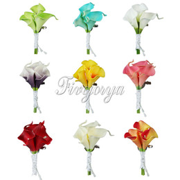 Wholesale White Brooch Wedding Bouquet - 5Pcs Wedding Calla Lily Corsage Bridal Brooch artificial Flower Bouquet Boutonniere Corsage Groom Groomsman Wedding Decor