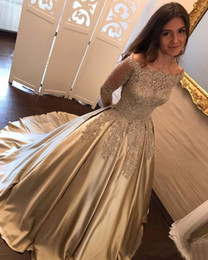 Wholesale Gold Satin Evening Gowns - 2017 Arabic New Gold Lace Appliques Beaded Prom Dresses Long Sleeves Off Shoulder Satin Plus Size Pageant Party Dress Formal Evening Gowns