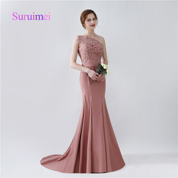 Wholesale One Shoulder Melon Bridesmaid Dress - Fast Shipping Formal Mermaid Bridesmaid Dresses 2017 One Shoulder Satin Appliques For Wedding Party Gowns Bride Maid Sweep Train