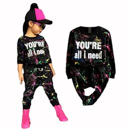 Wholesale Girls Leopard Print Tracksuit - new fashion girls tracksuit baby kids sport clothes set coloful letter printed children suit clothing set for 2-7years old