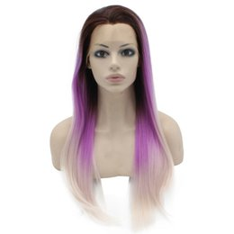 """Wholesale Silky Straight Blonde Wig - 24"""" Long Ombre purple Blonde Two Tone Silky Straight Half Hand Tied Heat Resistant Synthetic Fiber Lace Front Fashion Wig S02"""
