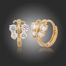 Wholesale Kids Butterfly Earrings - 5 colors Baby Girls Small Round Circles Hies Hoop Earrings Gold Plated Butterfly Cubic Zircon Jewellery For Kids Children