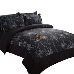 Wholesale Boys Full Size Comforter - Spider web bedding sets 3pcs Black duvet cover Twin Full Queen size quilt cover Boys men bedcover set