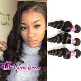 Wholesale Cheap Real Human Hair Bundles - Cheap Human Hair Bundles Raw Indian Virgin Hair Weave Bundles Loose Curl Wave 3pcs Natural Real Indian Hair Extensions Wefts Colorful Queen