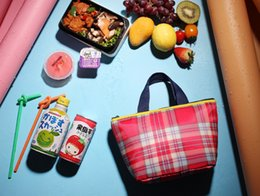Wholesale Lovely Lunch Bags - Wholesale- 2017 new camping picnic bag Japanese lunch bags square striped drawstring bag lovely Lunch Boxes with small bag free shipping