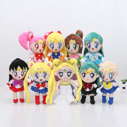 Wholesale pluto moon - 9pcs 20cm Sailor Moon plush toys Moon Venus Neptune Queen Serenity Uranus Pluto classic anime girl dolls
