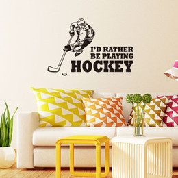 Wholesale Abstract Graphic Design - 43x64cm Sport Boy Playing Hockey Vinyl Wall Stickers Removable Art Mural for Home Decoration Kids' Bedroom