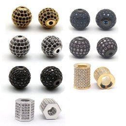 Wholesale Gold Plated Jewelry Making Supplies - 5 pcs lot Gold Plated CZ Brass Metal Micro Pave Cubic Zirconia Round DIY Bead For Jewelry Bracelet Making Supplies Accessories