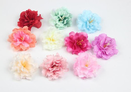 Wholesale Yellow Artificial Flower Heads - 9cm Artificial Silk Flower Peony Rose Heads For Hair Wedding Party Decoration Craft Floral G626