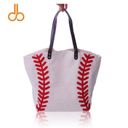 Wholesale handbags wholesale china - China Wholesale BLANK Woman High Quality Sports Tote Bag Cotton Canvas Baseball Handbags Women's Casual Softball Tote Beach Bag DOM281