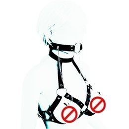 Wholesale Rope Bondage Breast Toys - Bondage Restrict Female Mouth Gag Harness Breast Harness Collar Slave Chest Bondage SM BDSM Gear Sex Toy for Women