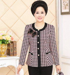 Wholesale Houndstooth Coat Xl - Wholesale- Autumn Winter Middle Age Big Size Mother Houndstooth Outerwear Women O Neck Coat Fashion Plaid Printed Jacket XL 2XL 3XL 4XL