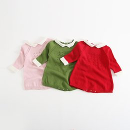 Wholesale Romper Long Sleeves Girls Boys - 2017 INS new arrivals baby kids climbing romper long sleeve Knitted conjoined garment high quality cotton romper girl boy solid color romper