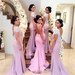 Wholesale Sexy Dress Factory - High Quality Sexy Backless Bridesmaid Dresses Luxury Beaded Cap Sleeve Factory Custom Made Column Maid of Honor Dresses with Real Photos
