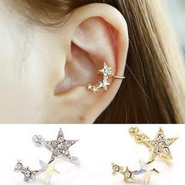 Wholesale Clip Earrings Star - Japan and South Korea new earrings fashion personality earrings Ms. diamond star earrings ear clip