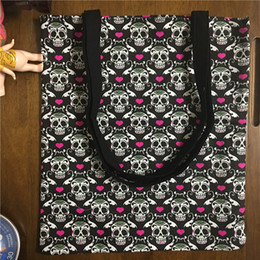 Wholesale Heart Motifs - Wholesale- YILE Handmade Cotton Canvas Eco Shopping Tote Shoulder Bag Print Red Heart Skull Motif 1758-2