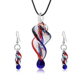 Wholesale murano glass gold pendant - Fashion murano glass spiral pendant necklace earrings jewelry set crystal flower shaped box packing free shipping