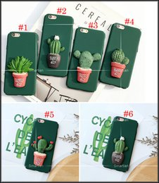 Wholesale Cover Pots - Fashion 3D Cartoon Green Plant Cactus Potted Back Cover For IPhone5 5s SE For iphone6 6s plus iphone 7 7Plus Case Matte Hard Plastic Shell