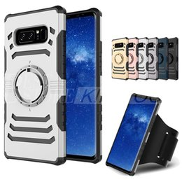 Wholesale Running Armband Case For Apple - Sharp Sword TPU+PC hybrid Case Sports Running Armband Stand Holder Cover Armor Cases For iPhone X 7 6 Plus Samsung S7 Edge S8