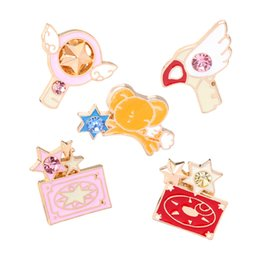 Wholesale 14k stick pin - 2017 Trendy Japan Anime Cartoon Brooches Jewelry Animal Crystal Rabbit Chicken Card Wings Star Sticks Key Badge Brooch Pin