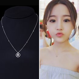 Wholesale Korea Pearl Necklaces - S925 sterling silver necklace female Korean mother pearl pearl pendant Japan and South Korea simple short paragraph clavicle chain birthday