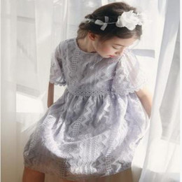 Wholesale Tutu Length Age - Summer Girl Lace Short Sleeve Dress For Age 3-8 Baby Kids Princess Wedding Prom Party Pink Violet Elegant Dress Toddler Kids Clothes