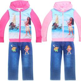 Wholesale Set Coat Pants Kids - 2017 Autumn girl Clothing sets Cartoon Printed Sport Suit Children Coat + Jeans Pant 2pcs set for Baby Girls Costumes Kid Sets