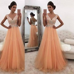Wholesale Floor Mirrors - 2018 Mirror Girl's Prom Dresses V Neck A Line Soft Tulle Backless Sheer Long South African Long Evening Gowns With Rhinestones Crystals