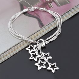 Wholesale China Silver Bracelets - High quality 925 silver Star bracelets high grade wholesale fashion sterling silver bracelets For Wedding Party Women Jewelry