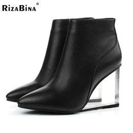 Wholesale woman transparent boots - Wholesale- womens shoes transparent wedges high heels ankle boots pointed toe high heels boots winter fashion black shoes woman size33-41