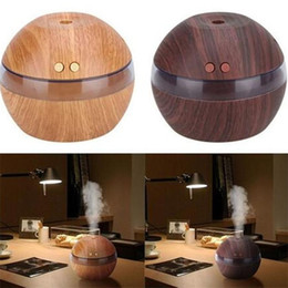 Wholesale Modern Usb - Ultrasonic Air Humidifier Home Aroma Oil Wood Mist Diffuser USB Car Humidifier Modern Quality Essential Cool Relaxing 1x 300ml