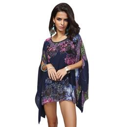 Wholesale Robe Blouse - Boho Batwing Sleeve Chiffon Blouse Women Casual Floral Print Loose Kimono Shirts Big Size Beach Tunic Tops Peplum Blusas Robe