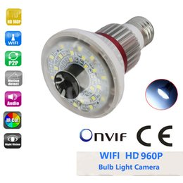 Wholesale Ip Led Light - Eazzydv HD960P wireless bulb IP camera, remote access, double alert,WHITE LED Light