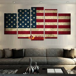 Wholesale Canvas Paints For Sale - wholesale canvas printing 5 Panels canvas wall art AMERICAN FLAG picture printed on canvas for home decor abstract art for sale