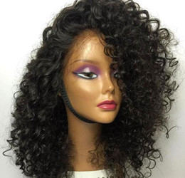 Wholesale Transparent French Lace - Brazilian Curly Lace Wig with Baby Hair 180 Density Glueless Full Lace Human Hair Wigs for Black Women Remy Hair