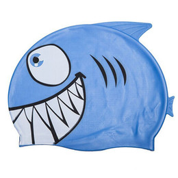 Wholesale Boys Swim Hat - Wholesale- New Child Kids Cartoon Swimming Cap Fish Shark Pattern Swim Diving Hat Waterproof Silicone Hats Girl Boy Favor Bathing Cap