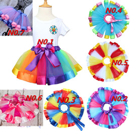 Wholesale Tutu Wholesale Kids Dance - Girls Rainbow Tulle Tutu Mini Dress Kids Lovely Handmade Colorful Tutu Dance Skirt Ruffled Birthday Party Skirt 7colors LC461